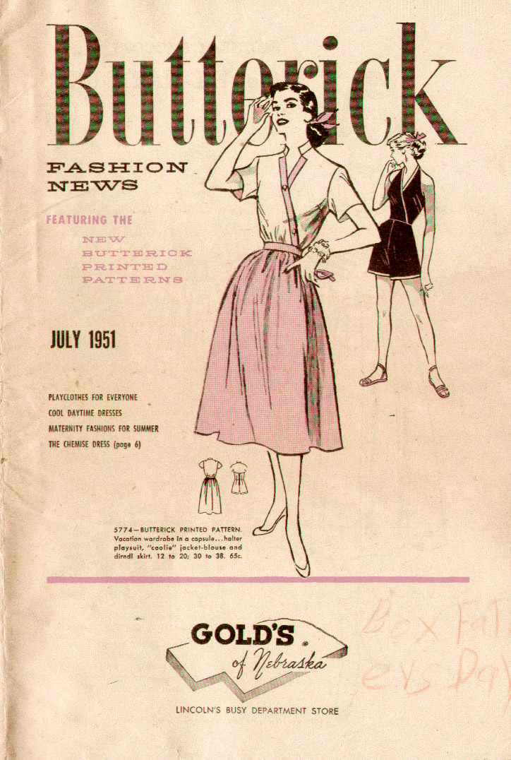 Butterick Fashion News July 1951