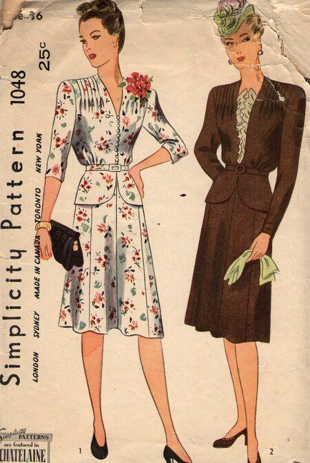 Vintage 1940s dress pattern from Penelope Rose at Artfire.jpg
