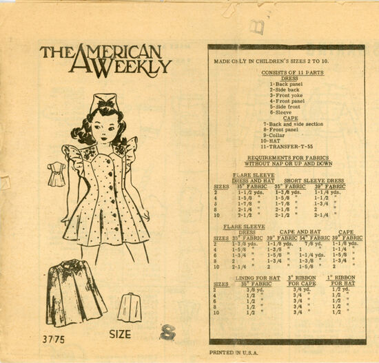 American Weekly 3775 A Child's Dress, Cape and Hat