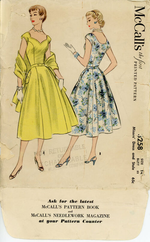 McCall's 3258 A Misses' Dress and Stole