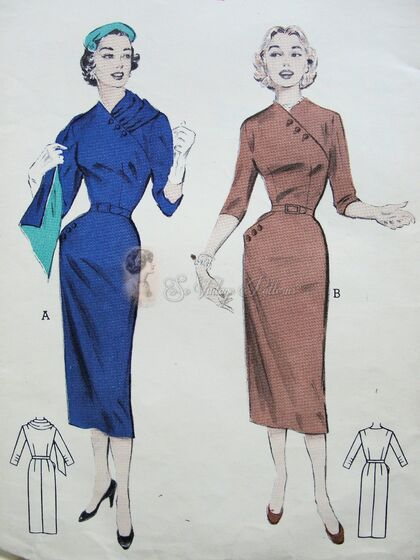 Butterick 6674 Slim dress with button on stole pattern, 1950s