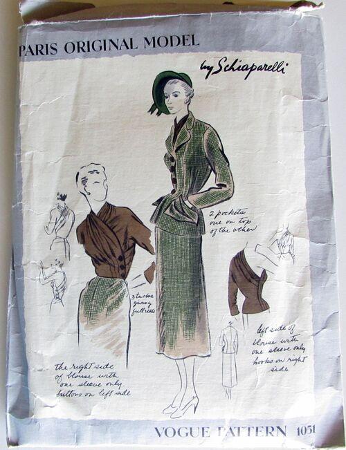 Vogue Paris Original Model Pattern1051 by Schiaperelli Size 12, Bust 30, Hip 33 Vintage 1940 Incomplete 2.jpg