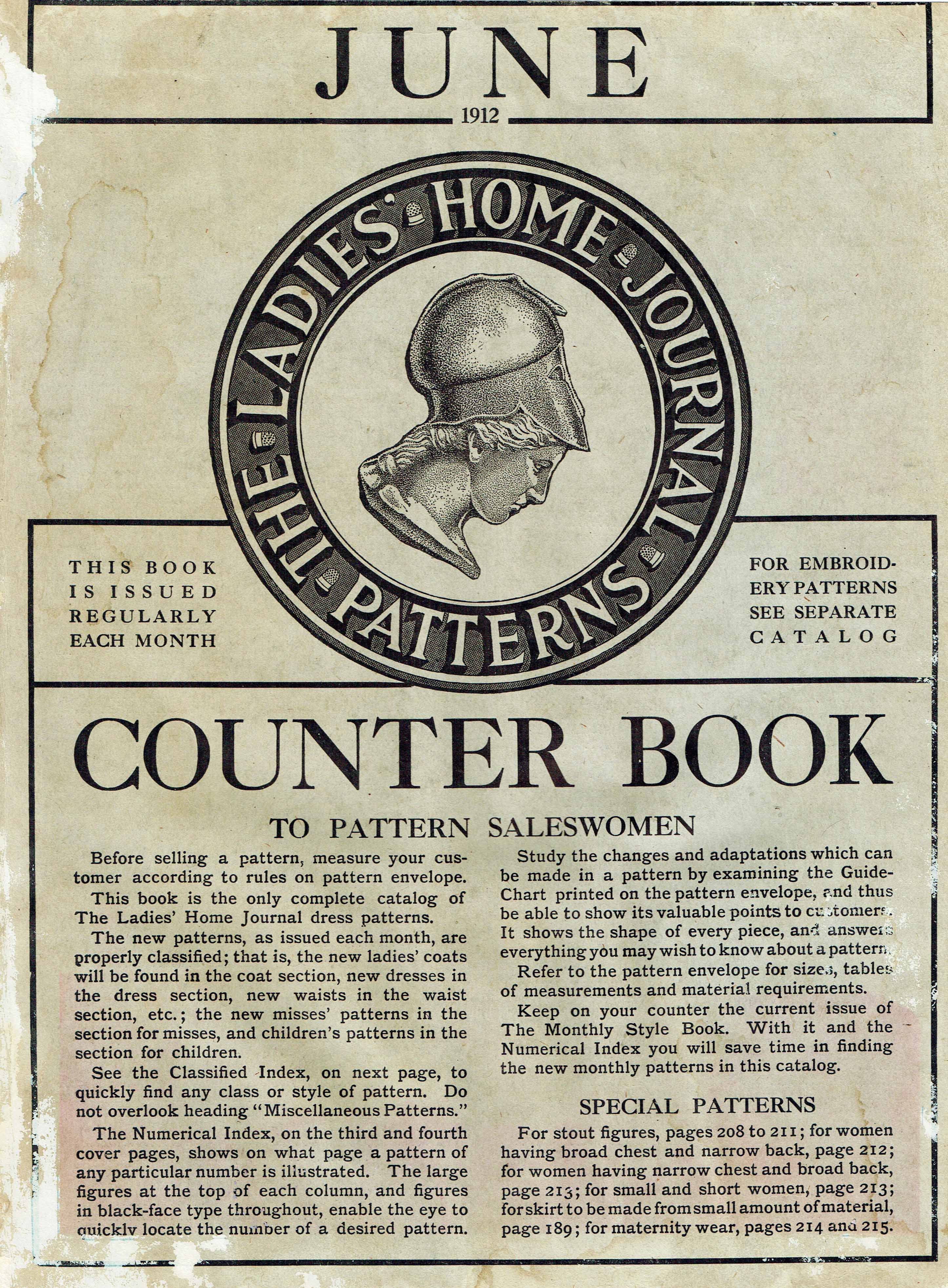 Ladies Home Journal Patterns Counter Book June 1912