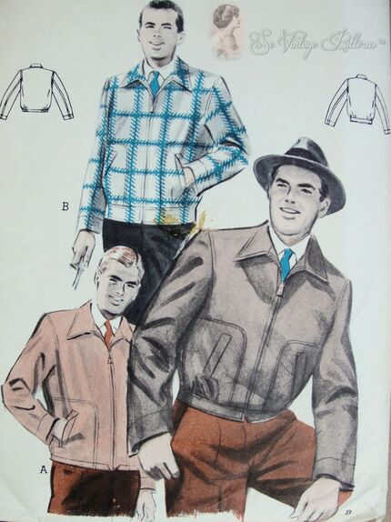 Butterick 6658 Men's Jacket with slide fastener closing Pattern. Circa 1950s