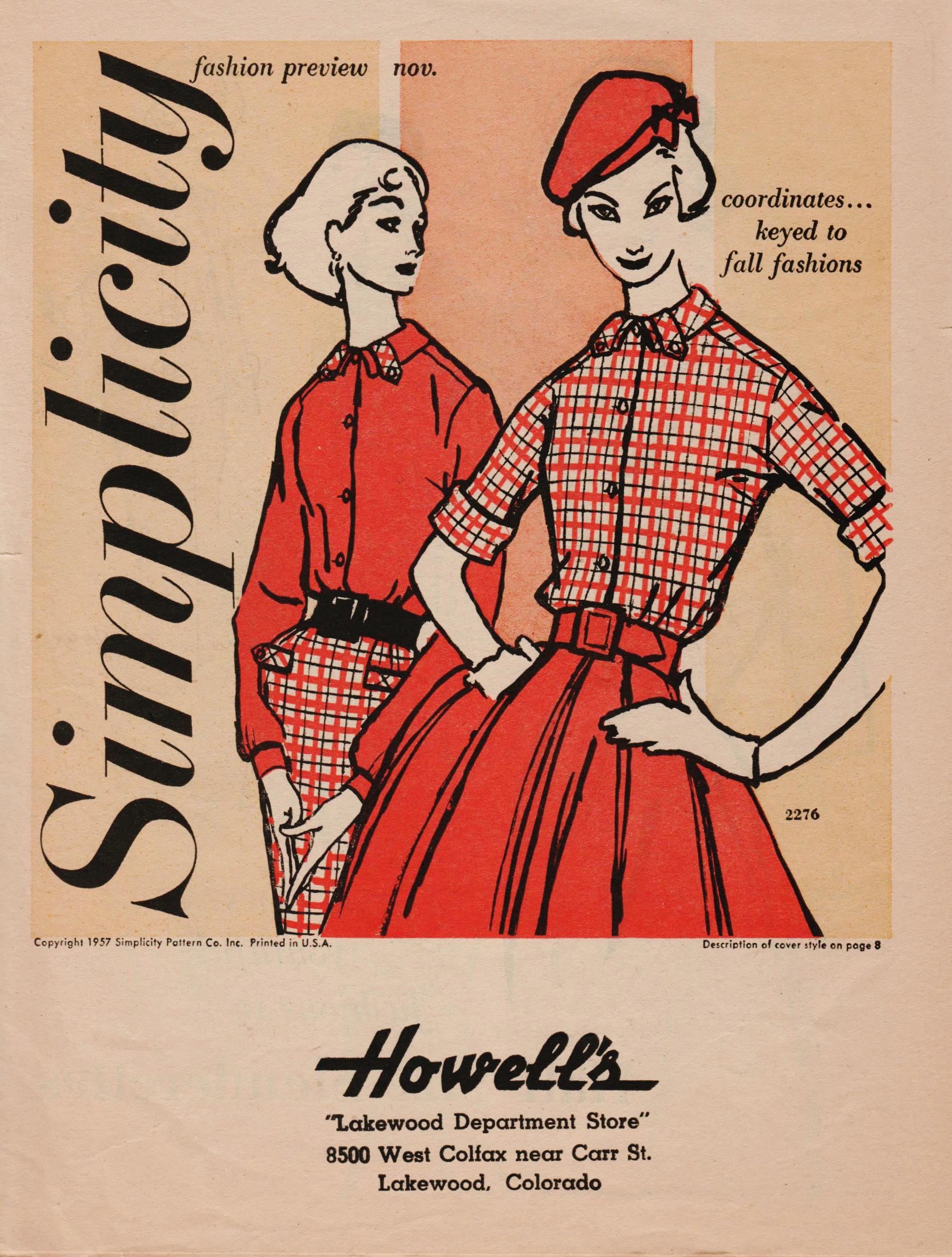 Simplicity Fashion Preview November 1957