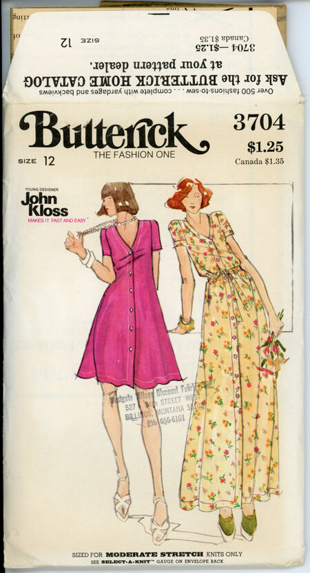 Butterick 3704 A Misses' Dress