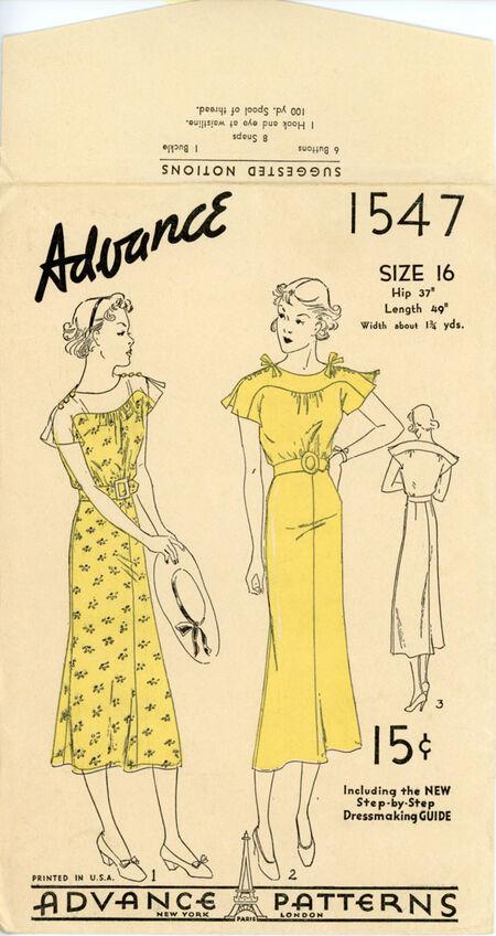 Advance 1547 Misses' Dress
