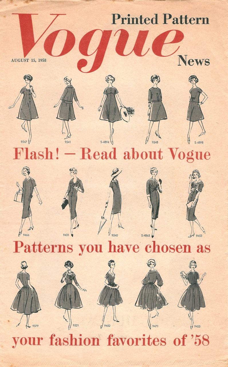 Vogue Printed Pattern News August 1958