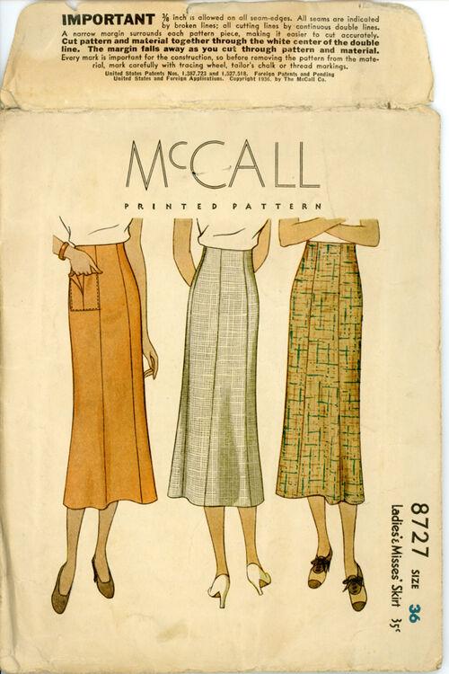 McCall 8727 Ladies' & Misses' Skirt