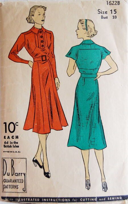 DuBarry 1622B circa 1930s. A one-piece frock with tucked front and long or short sleeve in one with yoke. The skirt, with gores in the front and a straight back, joins the bodice under a belt.