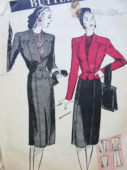 Butterick 3266 Suit Pattern Circa 1940s