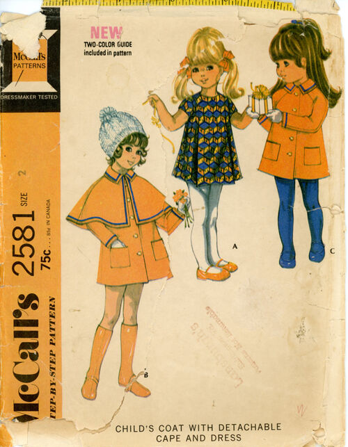 McCall's 2581 Child's Coat with Detachable Cape and Dress