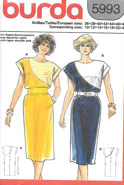 @1980s Misses' Asymmetrical Dress