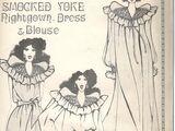 Mauve Smocked Yoke Nightgown, Dress & Blouse