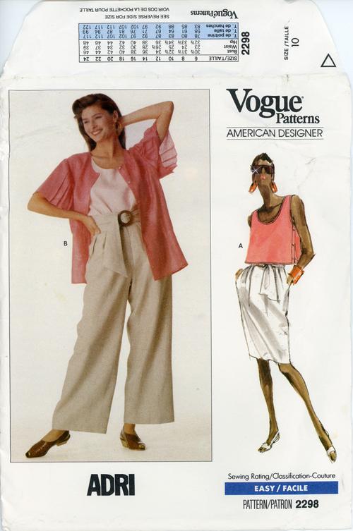 Vogue 2298 A; Misses'/Misses' Petite Jacket, Top, Skirt, Pants & Belt
