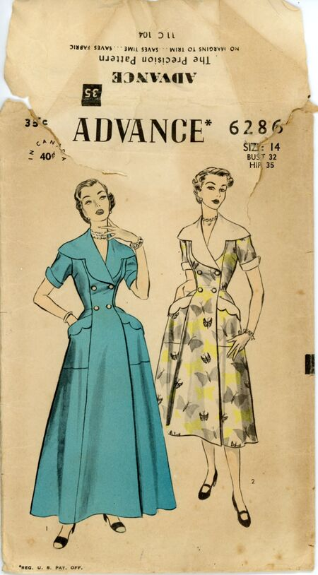 Advance 6286 Misses' Housecoat and Brunch Coat