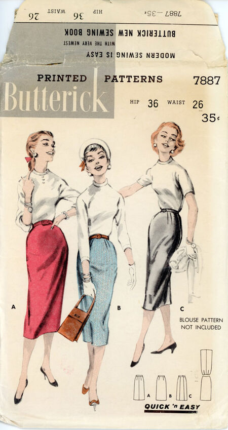 Butterick 7887 Misses' Quick N Easy One Yard Skirt
