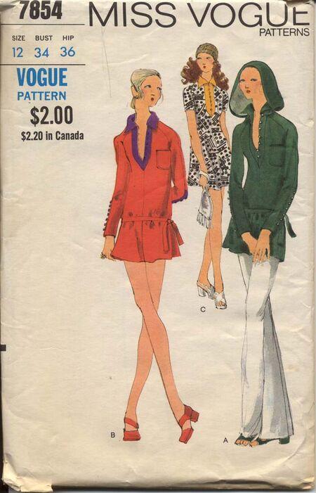 Vogue 7854 Misses 1970s Hooded Mini Dress