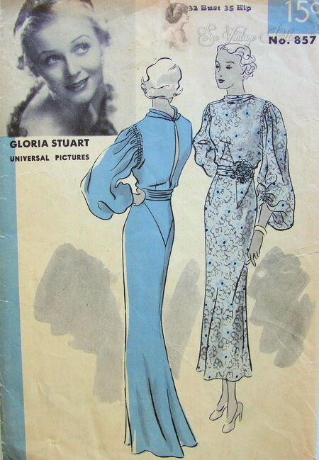 Hollywood 857 Evening Gown Frock Pattern Featuring Gloria Stuart.