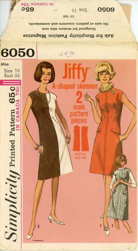 Simplicity 6050 A Misses One-Piece Jiffy Dress or Jumper