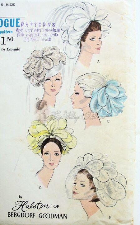 Vogue 7082 Halston Bridal Petal Head Piece