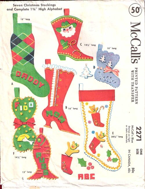 mccall's 2271 seven christmas stockings