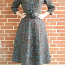 Butterick 6710 in brown and turquoise.jpg
