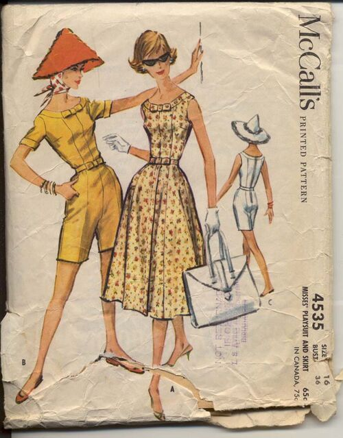 McCall's 4535 A Misses' Playsuit and Skirt