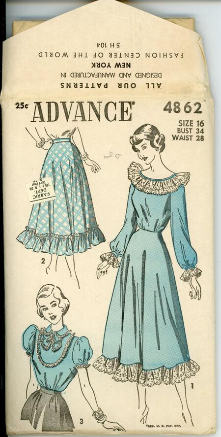 Advance 4862 Misses Pettiblouse, Blouse and Petticoat