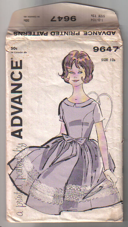 Advance 9647 1960's Printed Sewing Pattern Front