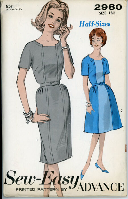 Advance 2980 Misses' and Women's Half-Size Dress - Sew-Easy
