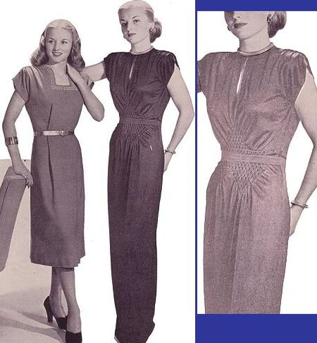 """This photo is from the Winter 1947-48 issue of MCCALL NEEDLEWORK magazine. The article title was """"sack Dresses Can Fit!"""" The image at far right was manipulated in an attempt to highlight the smocking detail on the gown."""
