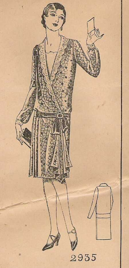 1920's Drop Waist Cocktail Dress with Side Drape.