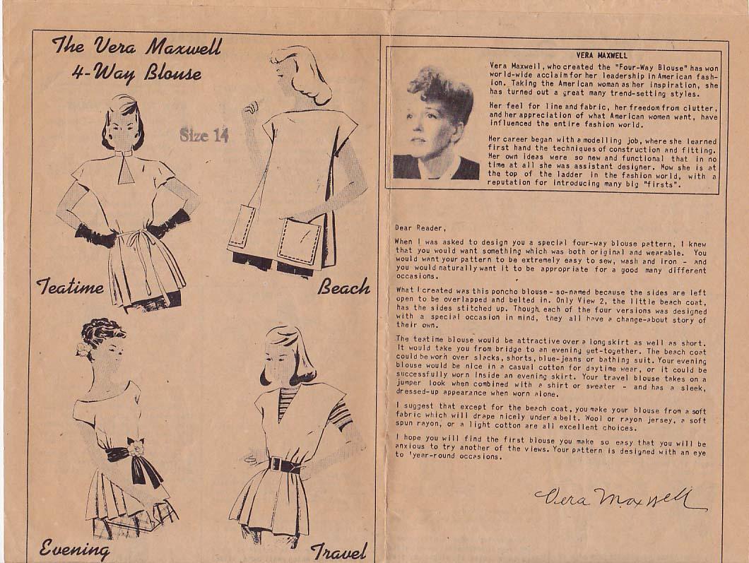 This Week Magazine Vera Maxwell Blouse