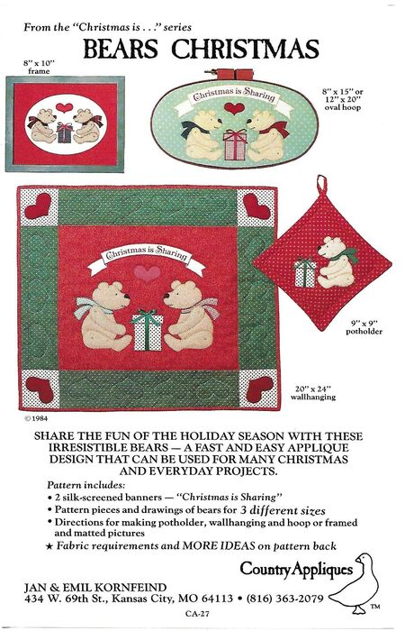 Country Appliques CA-27 Bears Christmas