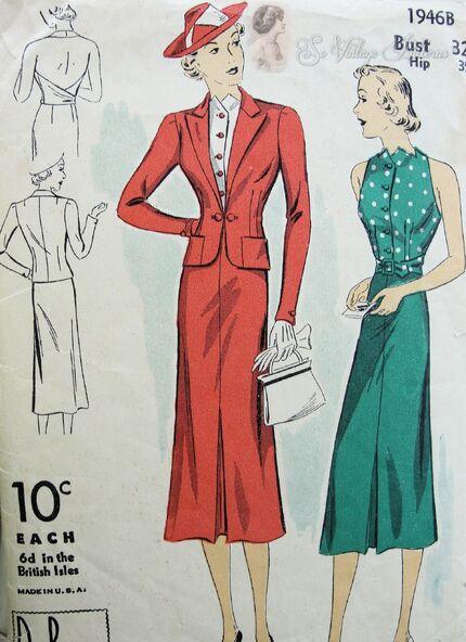 1930s DuBarry 1946B Ladies Jacket, Skirt and Halter top.