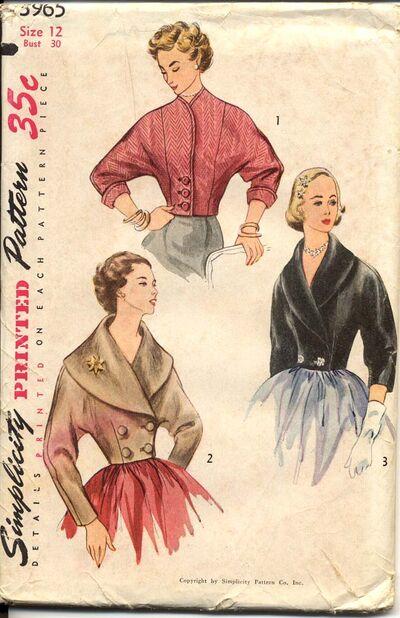 Simplicity 3965 A 1952© Misses' Set of Jackets