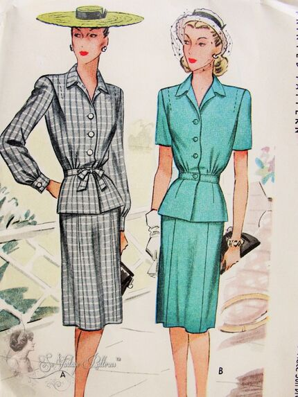 McCall 6102;© 1945 Ladies' and Misses' Two Piece Suit Dress.