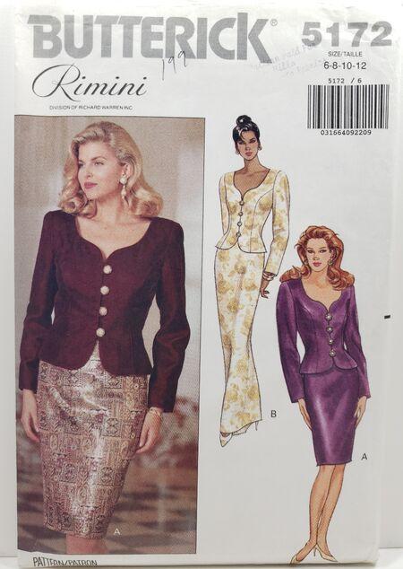 Butterick 5172 (c) 1990 Misses' Top & Skirt