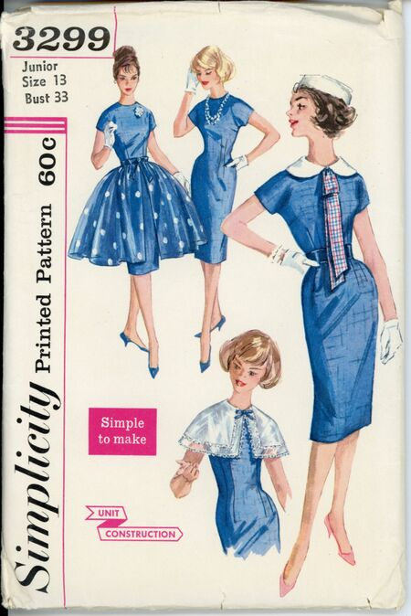 Simplicity 3299 A Teen and Junior Dress, Detachable Collars, Overskirt and Tie