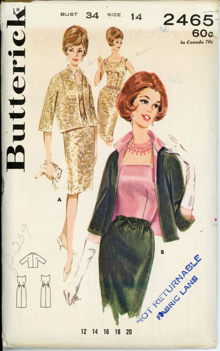 Butterick 2465 Misses' Fitted Sheath and Jacket
