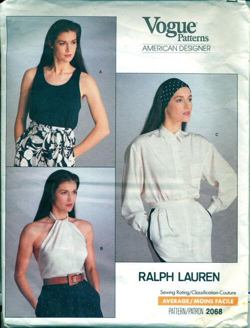 Vogue 2068 ca; 1980's Women's Top and Blouse Pattern, Sewing Pattern. Vogue American Designer, Ralph Lauren.