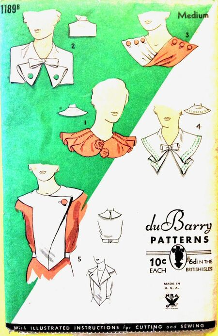 Du Barry 1189B 1930s Collars in Several Styles Vintage Sewing Pattern