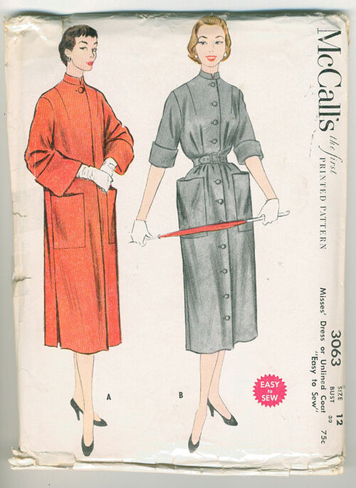 Cool Asian style 50s era coat. Easy to sew.