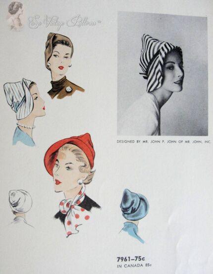 Mr John 1950s Cloche Hat Pattern Vogue 7961