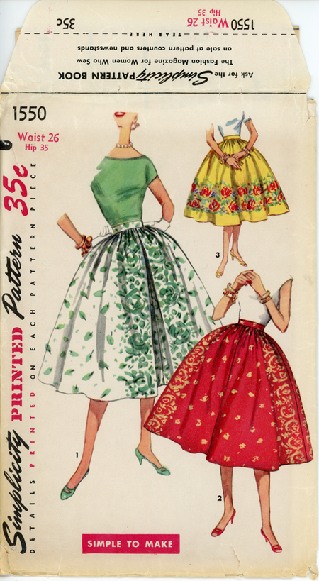 Simplicity 1550 A Misses' Skirts Suitable for Border Prints