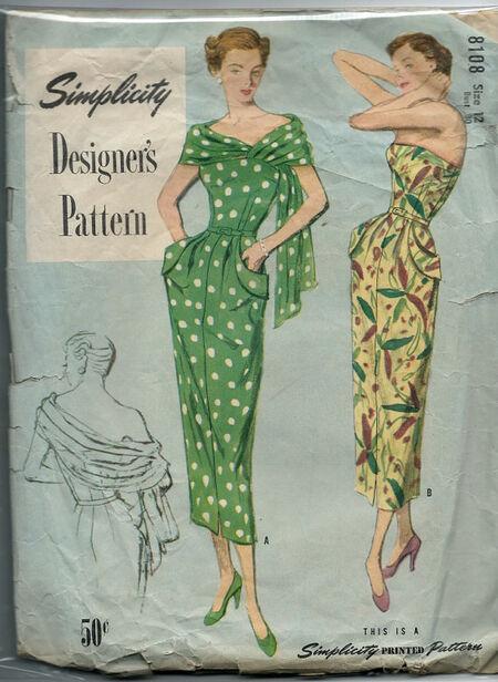 "Simplicity designer's Pattern 8108 Copyright 1949 'Stole"" dress"