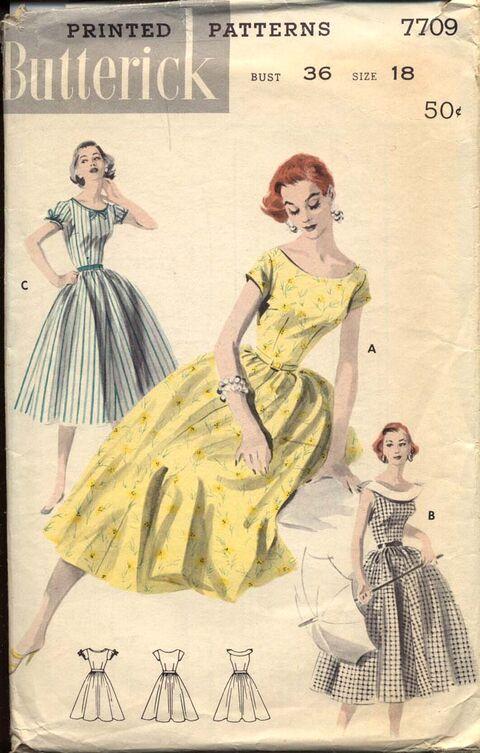 Butterick 7709 Flattering Scooped-Neck Dress