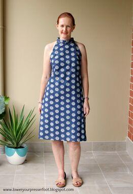 Butterick 4379 polka dot dress front 2