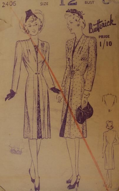 Late 1930s to early 1940s Redingote coat by Butterick